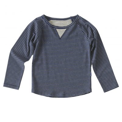 raglan shirt blue grey stripe little label