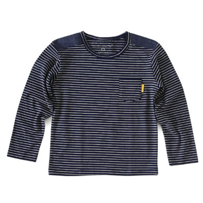 Boys shirt shoulder parts blue grey stripe