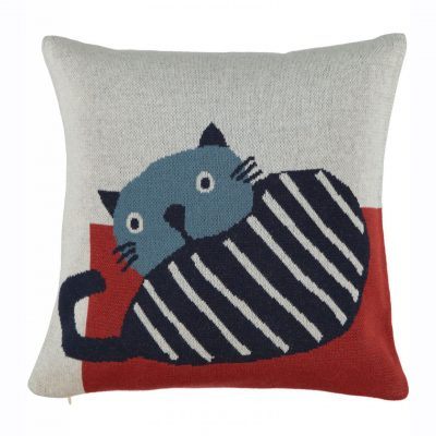 Cat cushion dark blue