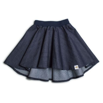 High Low Circle Skirt Dark Organic Denim