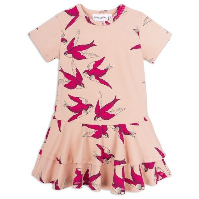 Mini Rodini - Swallows frill dress Pink