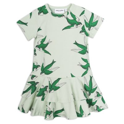 Mini Rodini - Swallows frill dress Green