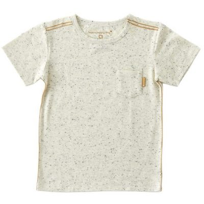 Little Label - tee with pocket off white speckle