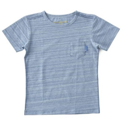 Little Label - tee with pocket blue mint melange
