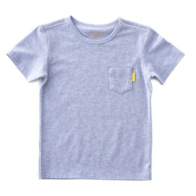 Little Label - tee with pocket blue multi-color speckle