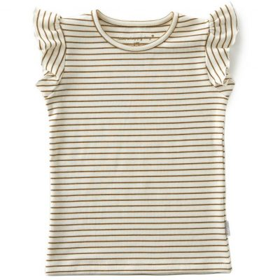 Little Label Tee Ruffle brown small stripes