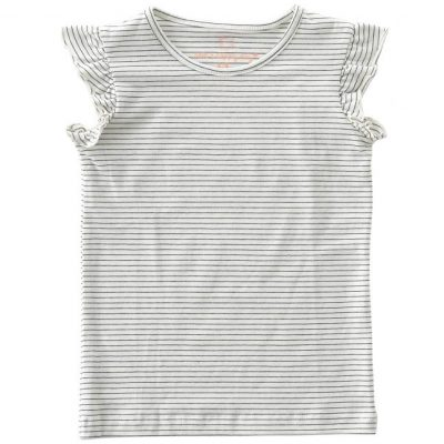 Little Label -Tee Ruffle small black stripes