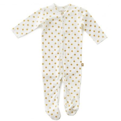 Little Label - Babysuit with feet brown clover