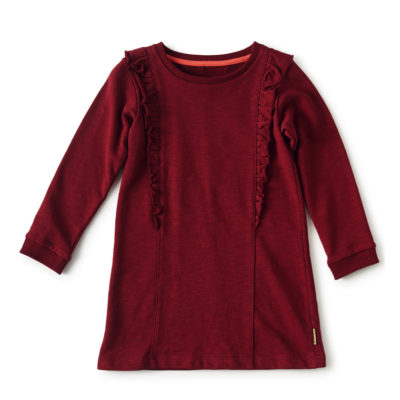 Little Label sweatjurk ruches bordeaux rood