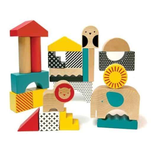 Petit Collage bouwblokken safari dieren
