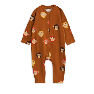 Mini Rodini Monkeys Jumpsuit Brown