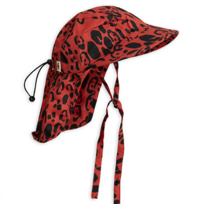 Mini Rodini Leopard Sun Cap Red