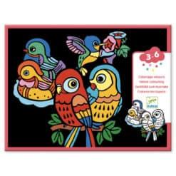 Djeco Fluweelkleurplaten Babyvogels