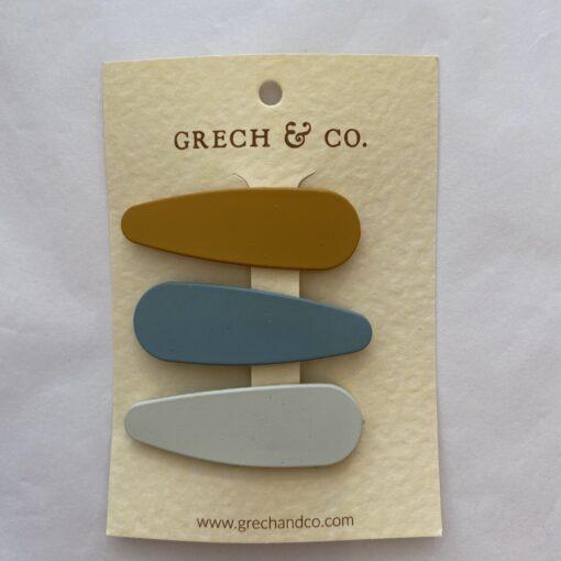 Grech & Co setje haarclips mat Golden-Light Blue-Buff