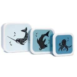Petit Monkey Lunchbox set black sea animals