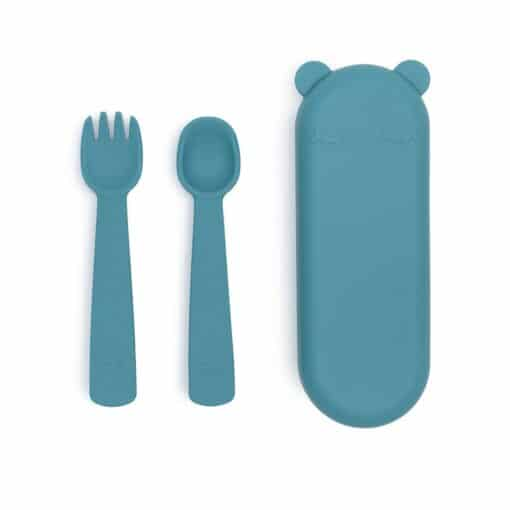 We might be tiny Feedie Fork & Spoon Set Blue Dusk