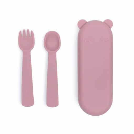 We might be tiny Feedie Fork & Spoon Set Dusty Rose